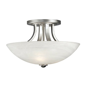 Fireside Satin Nickel Three Light Semi Flush Mount