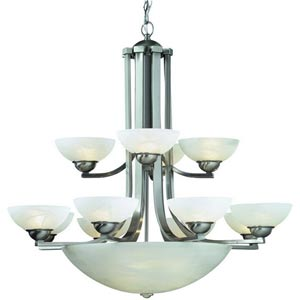 Fireside Satin Nickel Twelve-Light Chandelier
