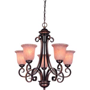 Medici English Bronze Five-Light Chandelier