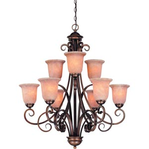 Medici English Bronze Nine-Light Chandelier
