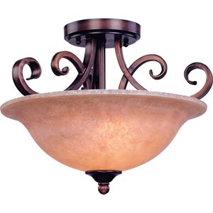Medici English Bronze Two-Light Semi-Flush
