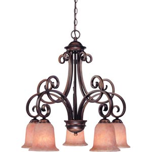 Medici English Bronze Five-Light Downlight Chandelier