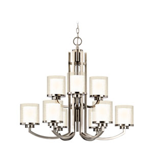 Horizon Nine-Light Two-Tier Satin Nickel Chandelier