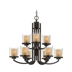 Horizon Nine-Light Two-Tier Bolivian Bronze Chandelier