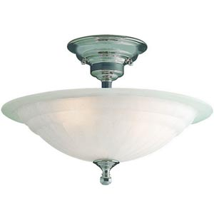 Richland Satin Nickel Small Three-Light Semi-Flush