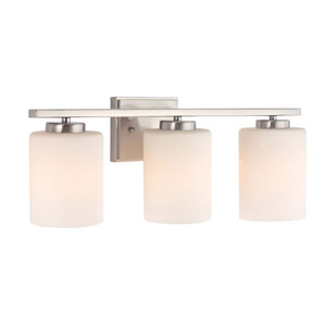Chloe Three-Light Satin Nickel Bath Bar