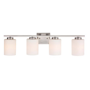 Chloe Four-Light Satin Nickel Bath Bar