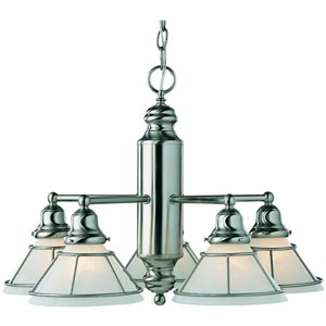 Craftsman Satin Nickel Five-Light Chandelier
