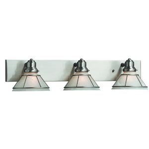 Craftsman Satin Nickel Three-Light Bath Light