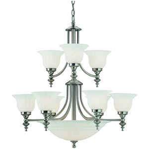 Richland Satin Nickel Nine-Light Chandelier