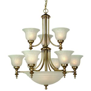 Richland Old Brass Nine-Light Chandelier