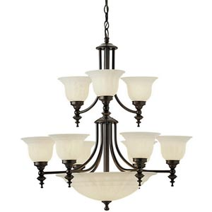 Richland Royal Bronze Nine-Light Chandelier