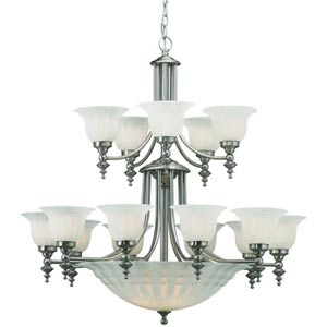 Richland Satin Nickel Fifteen-Light Chandelier