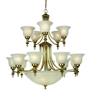 Richland Old Brass Fifteen-Light Chandelier