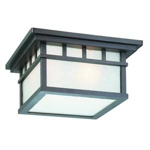 Barton Olde World Iron Two-Light Outdoor Flush Mount