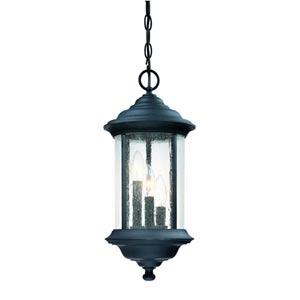Walnut Grove Black Three-Light Outdoor Pendant
