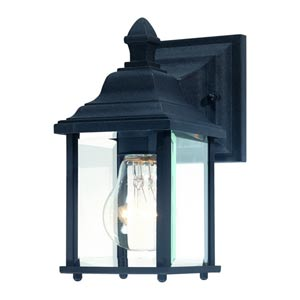 Charleston Black Small One-Light Outdoor Wall Light
