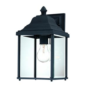 Charleston Black Large One-Light Outdoor Wall Light