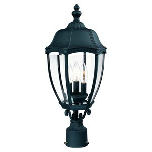 Roseville Black Three-Light Outdoor Post Light