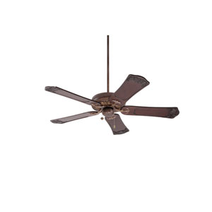 Crown Select Gilded Bronze 54-Inch Ceiling Fan with Dark Walnut Hand Carved Ornate Blades