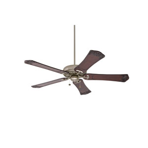 Crown Select Antique Pewter 60-Inch Ceiling Fan with Dark Walnut Hand Carved Ornate Blades