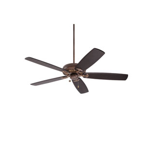 Crown Select Gilded Bronze 60-Inch Ceiling Fan with Chocolate Solid Wood Blades