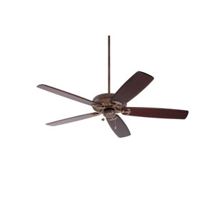 Crown Select Gilded Bronze 60-Inch Ceiling Fan with Dark Mahogany Solid Wood Blades
