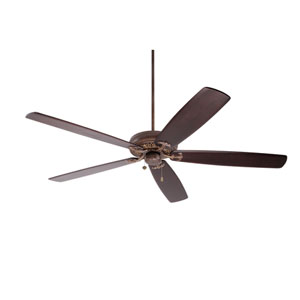 Crown Select Gilded Bronze 72-Inch Ceiling Fan with Dark Mahogany Solid Wood Blades
