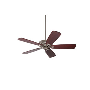 Premium Select Brushed Steel 54-Inch Ceiling Fan with Dark Mahogany Solid Wood Blades