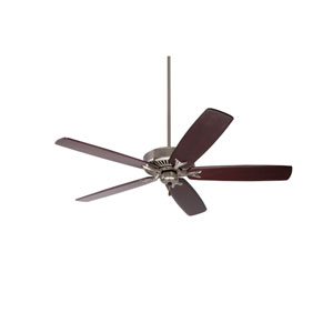 Premium Select Brushed Steel 60-Inch Ceiling Fan with Dark Mahogany Solid Wood Blades