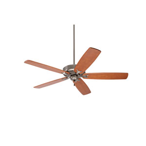 Premium Select Brushed Steel 60-Inch Ceiling Fan with Teak Solid Wood Blades