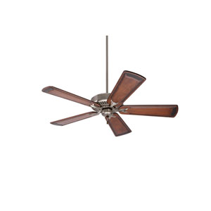 Premium Select Brushed Steel 54-Inch Ceiling Fan with Walnut Hand Carved Art Deco Blades