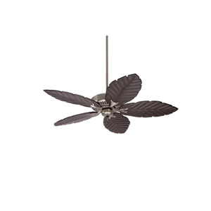 Premium Select Brushed Steel 54-Inch Ceiling Fan with Dark Cherry Hand Carved Leaf Blades
