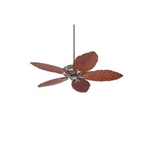 Premium Select Brushed Steel 54-Inch Ceiling Fan with Dark Oak Hand Carved Leaf Blades