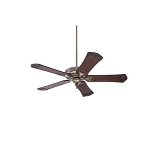 Premium Select Brushed Steel 54-Inch Ceiling Fan with Dark Walnut Hand Carved Ornate Blades