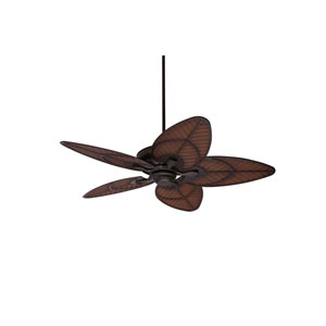 Carrera Grande Eco Oil Rubbed Bronze EcoMotor 54-Inch Ceiling Fan with Antique Stained Wicker Weather-Resistant Rattan Leaf