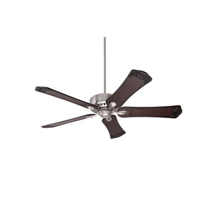 Avant Eco Brushed Steel Energy Star EcoMotor 60-Inch Ceiling Fan with Dark Walnut Hand Carved Ornate Blades