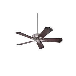 Avant Eco Brushed Steel Energy Star EcoMotor 54-Inch Ceiling Fan with Dark Walnut Hand Carved Ornate Blades