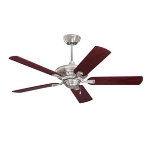 Carrera Bella Energy Star Brushed Steel 52-Inch Ceiling Fan with Dark Cherry/Walnut Blades