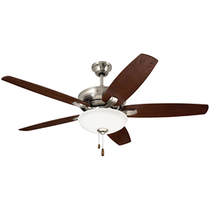 Pro Series Brushed Steel Three Light Ceiling Fan