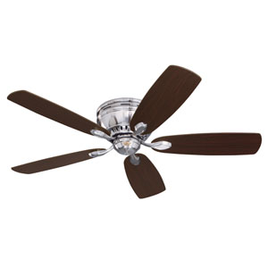 Prima Brushed Steel 52-Inch Snugger Ceiling Fan with Dark Cherry/Chocolate Reversible Blades