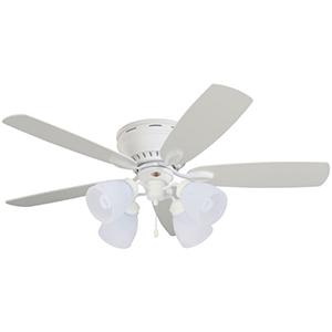 Prima Satin White 52-Inch Snugger Ceiling Fan