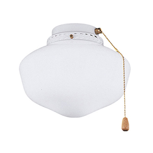 Schoolhouse Globe Appliance White Fluorescent One Light Ceiling Fan Kit with Opal Matte Glass