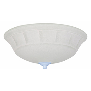 Satin White Three Light Ceiling Fan Kit with White Mist Glass