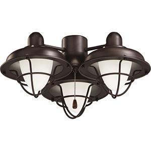 Broadwalk Cage Venetian Bronze Fluorescent Three Light Ceiling Fan Kit