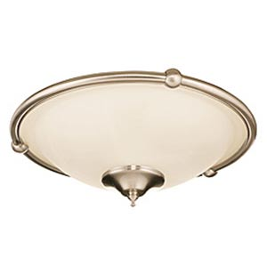 Brushed Steel Low Profile Damp Rated Ceiling Fan Light Fixture