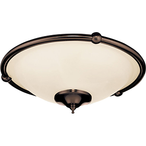 Oil Rubbed Bronze Three Light Ceiling Fan Fixture with Frosted Glass