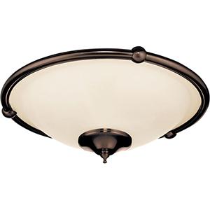 Venetian Bronze Low Profile Damp Rated Ceiling Fan Light Fixture