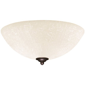 Antique Brass Fluorescent Three Light Ceiling Fan Fixture with White Linen Glass