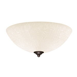Antique Pewter Fluorescent Three Light Ceiling Fan Fixture with White Linen Glass